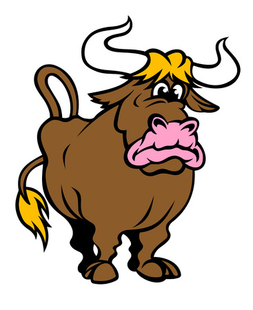 Funny brown bull in cartoon style. Vector illustration Vector