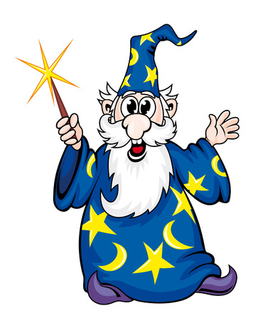 Cartoon wizard man with magic trick. Vector illustration