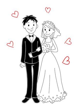 Braut und Bräutigam für die Hochzeit Cartoon-Design. Vektor-Illustration