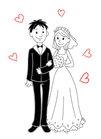 Mariée et marié de bande dessinée pour la conception de mariage. Vector illustration