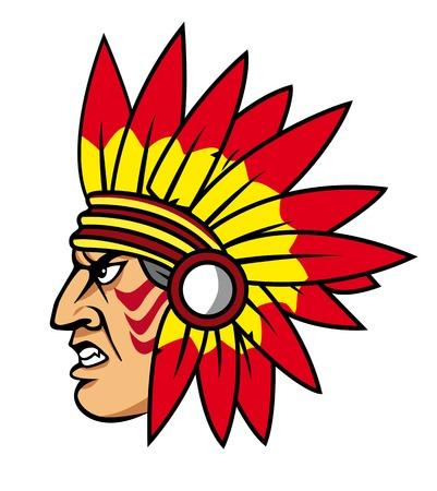 chieftain: Popolo indiano nativo con piume per la mascotte ed emblemi