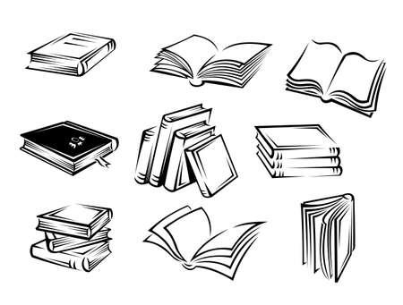 open magazine: Set ofbooks and magazines for design. Vector illustration Illustration