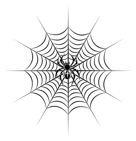 spiderweb: spider on web in tribal style for tattoo. Vector illustration