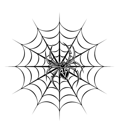 spider on web for tattoo. Vector illustration Vector