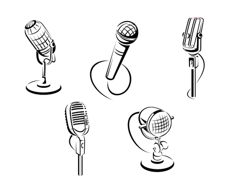 Set of music microphones isolated on white background for art design. Vector illustration Vector