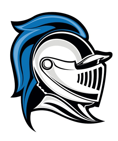 military helmet: Medieval knight head in helmet. Vector illustration