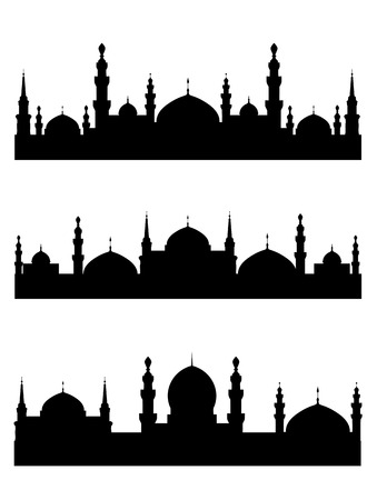 famous people: Islamic city silhouettes for design. Vector illustration Illustration