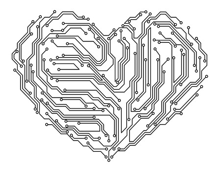 Digital heart in motherboard elements. Vector illustration Vector