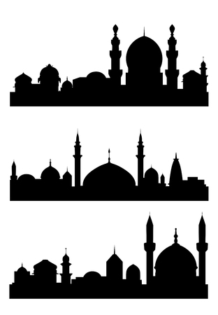 turkish people: Islamic city silhouettes for architecture design. Vector illustration Illustration