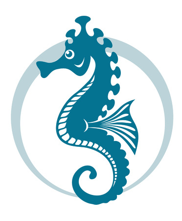 Blue seahorse symbol with circle shape. Vector illustration