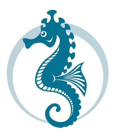 caballo de mar: Símbolo del caballito de mar azul con forma de círculo. Ilustración vectorial Vectores
