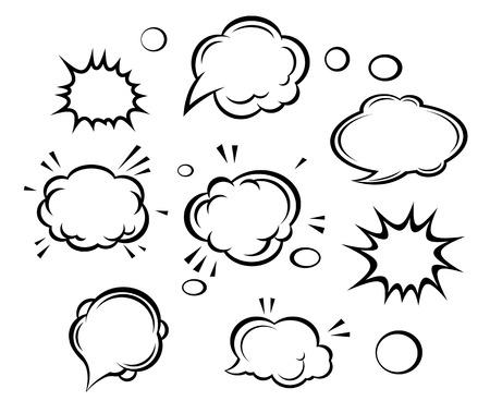 nubes caricatura: Nubes de dibujos animados y burbujas conjunto. Ilustraci�n vectorial