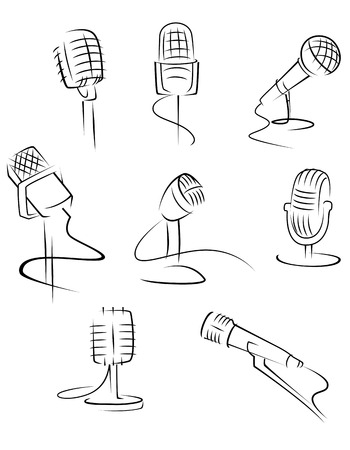 Set of music microphones isolated on white background for art design. Vector illustration