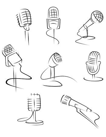 Set of music microphones isolated on white background for art design. Vector illustration Imagens - 22473637