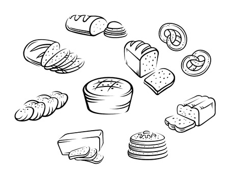 baking bread: Set of bakery food on white background. Vector illustration
