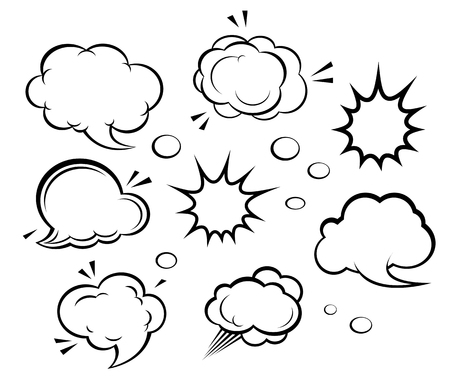 Set of cartoon clouds and explosions. Vector illustration