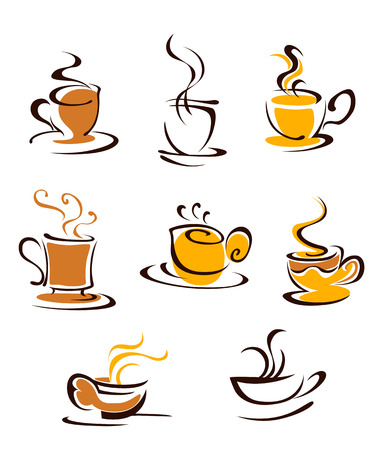 Set of hot coffee cups symbols. Vector illustration Vector