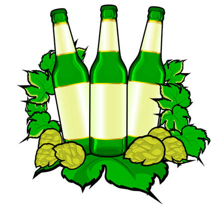Beer bottles in hop leaves for drink design. Vector illustration Vector
