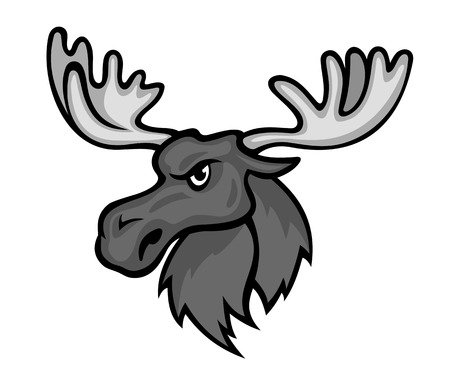 Wild moose with hornes in cartoon style. Vector illustration Vector
