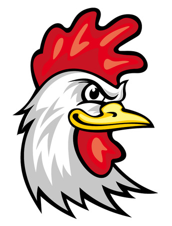 Head of cartoon rooster isolated on white. Vector illustration Vector