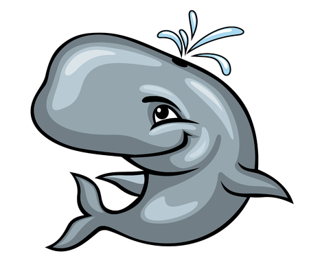 baleen whale: Cartoon sperm whale on white background. Vector illustration