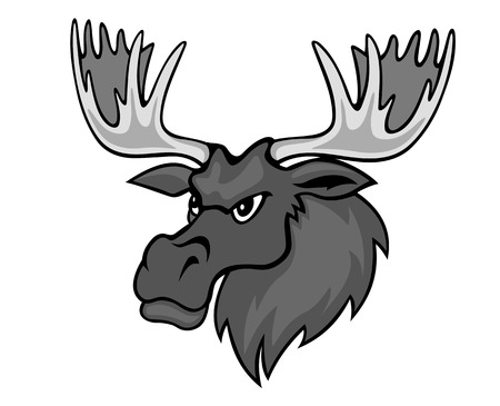 Cartoon moose with hornesfor mascot. Vector illustration Illustration