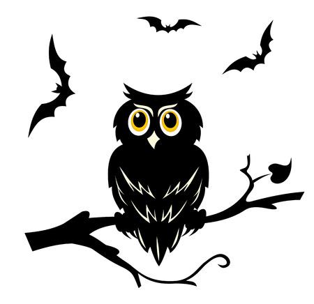 Black halloween owl on the branch of tree Ilustração
