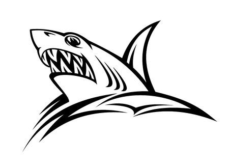 dead sea: Danger shark in tribal style for tattoo. Vector illustration