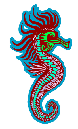 Colorful seahorse isolated on white. Vector illustration Vector