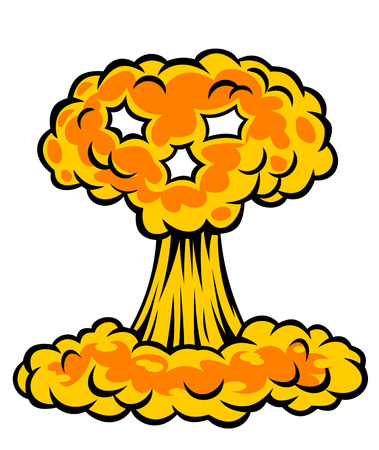 armageddon: Nuclear explosion with skull cloud. Vector illustration