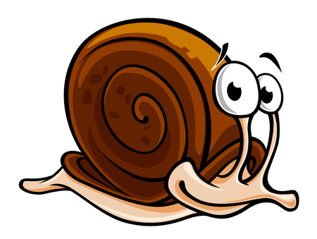 Funny slow snail isolated on white background. Vector illustration Illustration