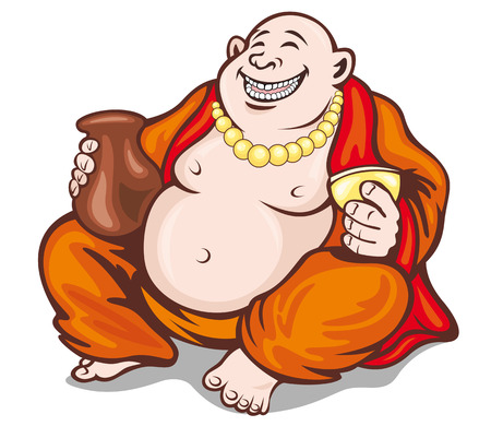 cult tradition: Asian smiling monk in cartoon style. Vector illustration