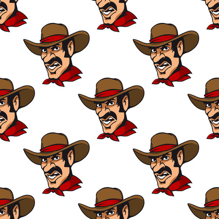 Seamless pattern background with cowboy in hat Vector