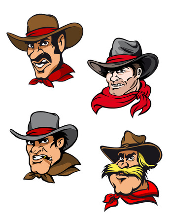 Four cowboys in cartoon style for mascot ot another western design Illustration