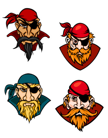 jolly roger: Old danger pirates, buccaneers, corsairs and sailors in cartoon style Illustration