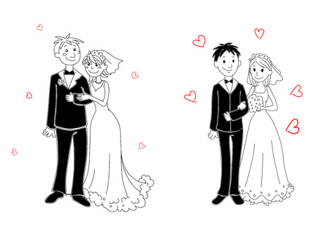 Doodle couple of bride and groom on wedding ceremony
