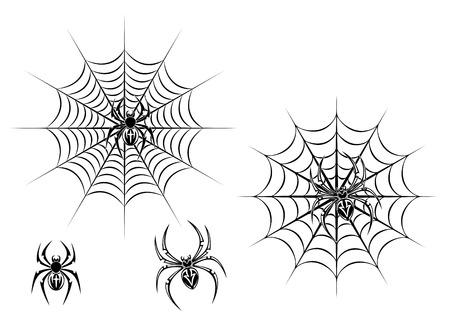 spider web: Black danger spiders on web for tattoo design