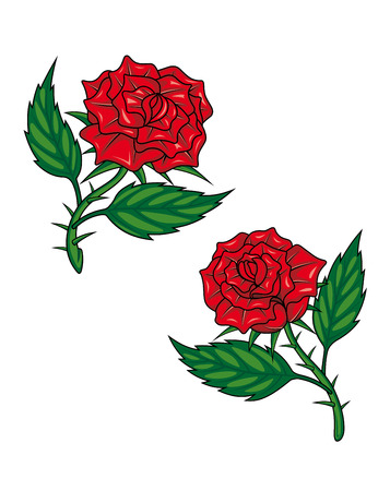 Two red cartoon roses isolated on white for tattoo design Vector