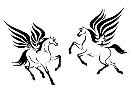Black pegasus horses with wings for religious design Vector