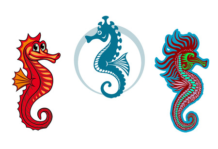 hippocampus: Funny underwater seahorse or hippocampus for sealife or fairytale design Illustration