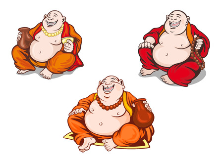 cult tradition: Asian monks set in cartoon style for religious design