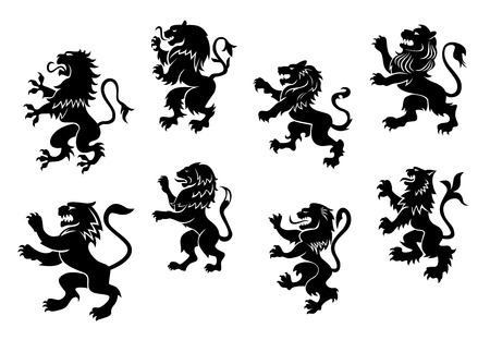 Royal heraldic black lions set isolated on white