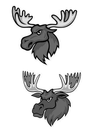 Tow big cartoon elks with long horns
