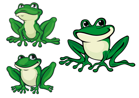 Green cartoon frogs set for wildlife or fairytale design