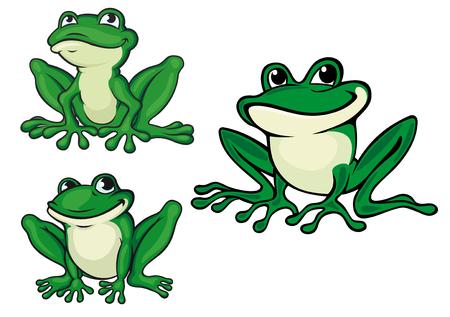 rana caricatura: Ranas verdes de dibujos animados conjunto para la vida silvestre o el diseño de cuento de hadas