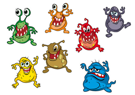 Danger cartoon monsters isolated on white background with uggly faces