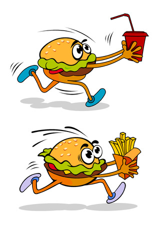 Running takeaway cartoon burger in two variations, one carrying a soda in a cup and the other a packet of French fries, vector illustration on white