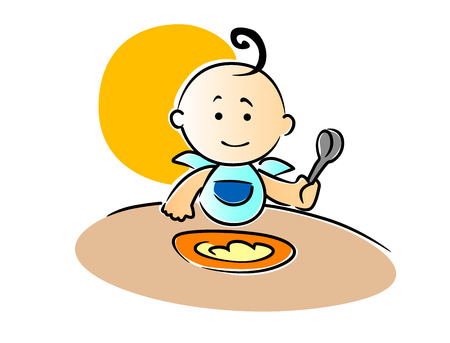 Cute little baby wearing a blue bib with a curl on top of its head sitting eating its food holding a spoon in its fist, vector illustration Illustration