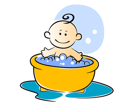 baby bath: Happy little baby having a bath sitting smiling in a tub of soapy water