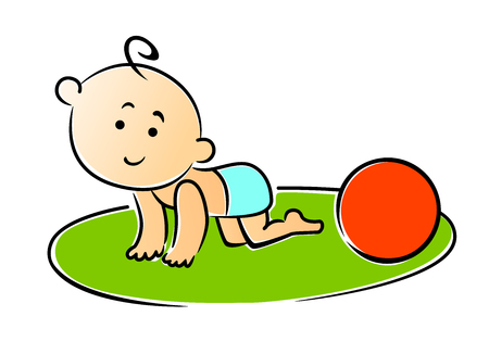 diaper baby: Little baby crawling on hands and knees playing with a red ball on the grass, cartoon vector illustration